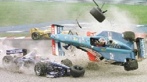 Infamous crash at the beginning of the 98 Canadian GP